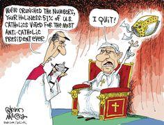 The real reason the Pope resigned. Glenn McCoy on GoComics.com #humor #Comics #Politics #Pope #Catholic