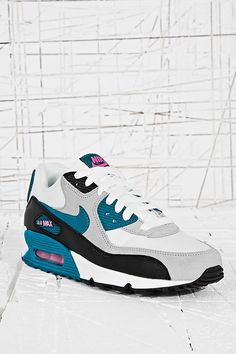 various colors 5bf46 3a0e9 Nike Air Max 90 Trainers in White and Teal