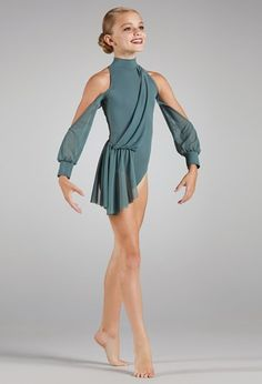 Mock Neck Leotard With Mesh Sleeves Modern Dance Costume, Cute Dance Costumes, Contemporary Dance Costumes, Dance Costumes Lyrical, Ballet Costumes, Dance Leotards, Dance Outfits, Dance Dresses, Party Dresses