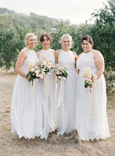 Gorgeous bridesmaids in white: http://www.stylemepretty.com/2016/09/07/wedding-bridesmaids-white-dresses/ Photography: Jose Villa - http://josevilla.com/