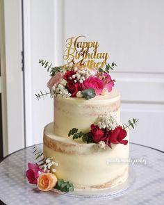 2 tier our signature cakes Elegant Birthday Cakes, 2 Tier Birthday Cakes, Make Birthday Cake, 40th Birthday, 80th Birthday Cake For Grandma, 70th Birthday Cake For Women, Birthday Cake For Women Elegant, Naked Cakes, Mom Cake