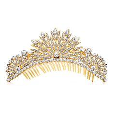 49.95$  Watch now - http://vihav.justgood.pw/vig/item.php?t=4ad51an26615 - Spectacular Crystal Gold Art Deco Wedding or Prom Tiara Comb