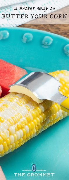 Corn on the cob just got better. Get a buttery bite every time. The curved, stainless steel blade slices and scoops the butter, then conforms to the cob's curve to distribute it over every kernel. Great for grilled corn this summer!
