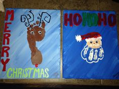 Hand print Santa and footprint Rudolph ... More Christmas art fun with the kids