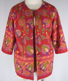 Coldwater Creek PXL Lined Floral Linen Jacket Blazer Red Purple Green Petite…