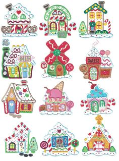 Gingerbread Village Applique Machine Embroidery Designs by JuJu Embroidery Store, Machine Embroidery Applique, Free Machine Embroidery Designs, Applique Designs, Quilt Designs, Embroidery Files, Christmas Embroidery Patterns, Christmas Applique, Christmas Drawing