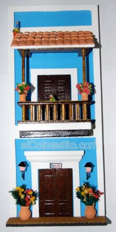 Puerto Rico Home Decorations, Puertorican Arts & Crafts, Artesania de Puerto Rico Puerto Rico Mini Doll House, Clay Art Projects, Wall Key Holder, Puerto Rican Recipes, Diy Décoration, Cardboard Crafts, Miniature Houses, Puerto Ricans, Exterior Colors