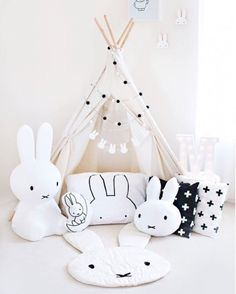 """Oh Miffy you are so fine! We this Miffy monochrome theme play area! Available in XL and SMALL! Enter """"Happydec"""" to enjoy door to door delivery for Miffy! credit @missmia_and_me"""