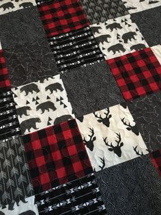 This item is ready to ship! Baby Boy Quilt-Rustic Baby Quilt-Deer Baby Quilt-Baby Boy Crib Bedding-Woodland-Buffalo Red Plaid-Bear-Arrow-Trees-Modern Baby Blanket This handmade quilt is made from a va Quilt Baby, Baby Boy Crib Bedding, Baby Boy Cribs, Woodland Nursery Boy, Baby Boy Nursery Themes, Baby Boy Nurseries, Themed Nursery, Baby Boys, Rustic Quilts