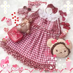 Diamond Honey -Sweet Summer- Gingham Lolita Short Sleeves OP Dress (2018 Version)