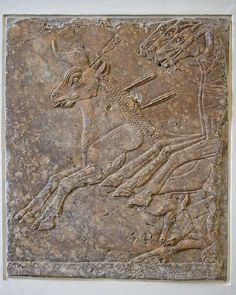 Relief from Nineveh, about 695 BCE of a hunting scene. Alabaster relief. Pergamon Museum