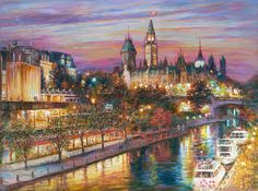 "Romantic Ottawa Night - 36x48""  Ottawa Canada. Rideau Canal, Boats, Parliament. Evening, Summer Sunset. Oil on Canvas Painting by Elena Khomoutova"
