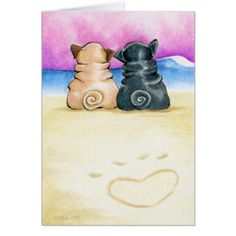 'Pugs in Love Beachside' Art Print by offleashart - Part of Andie's newest series of works inspired by Valentine's Day and love. This one depicts a heart shaped paw scratched in the sand behind fawn and black Pugs watching the sunset together. Baby Pug Dog, Pet Dogs, Pug Tattoo, Pugs And Kisses, Black Pug, Pug Puppies, King Charles Spaniel, Pug Love, Cute Animals