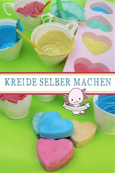 Make chalk yourself-Kreide selber machen A gift idea for the Easter basket. Make great street chalk easily and quickly yourself. Handicrafts with children and toddlers. Fall Arts And Crafts, Diy Crafts For Kids, Homemade Muesli, Make Your Own, How To Make, Christmas Candles, Easter Baskets, Tray Bakes, Easter Crafts