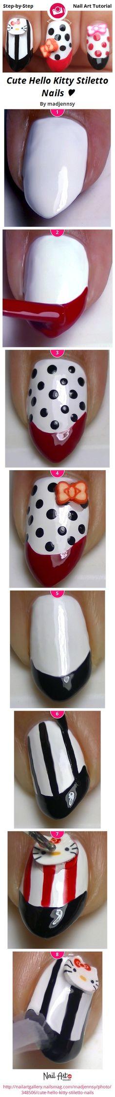Cute Hello Kitty Stiletto Nails ♥ by madjennsy - Nail Art Gallery Step-by-Step Tutorials nailartgallery.nailsmag.com by Nails Magazine www.nailsmag.com #nailart
