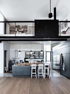 Kitchen Loft - Bright Idea - Home, Room, Furniture and Garden Design Ideas Loft Kitchen, Apartment Kitchen, Kitchen Decor, Kitchen Design, Apartment Interior, Apartment Ideas, Kitchen Ideas, Modern Apartment Design, Interior Architecture