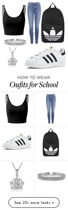 """""""School outfit """" by queenalesia on Polyvore featuring Paige Denim, adidas, Topshop, Doublju and Bling Jewelry"""
