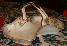 Vintage Nippon Basket Porcelain 9L Floral Rising Sun by softlychic, $29.99