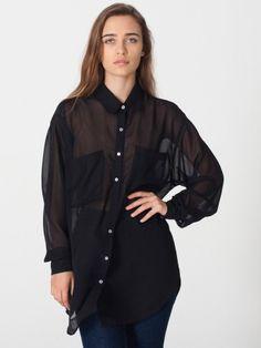 Chiffon Oversized Button-Up
