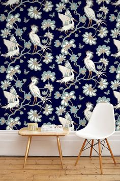Florence's mission was to change the perception that wallpaper was drab, and she undoubtedly achieved this with her diverse collection. Our wallpapers are printed by skilled craftspeople using traditional methods of printing. Layout Inspiration, Interior Inspiration, Modern Lodge, Florence Broadhurst, Bird Perch, Print Wallpaper, Wall Treatments, Midnight Blue, Screen Printing