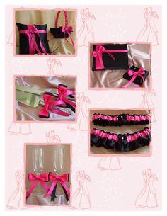 Candles Glasses Garters Cake Set Pen Guest Book 15Pc Hot Pink Black Wedding Decor Basket Madison Damask Wedding Pillow