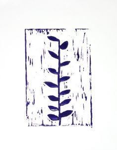 Woodland Deep Purple Ivy Garden Linocut PRINT by RetroModernArt