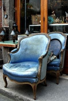 Blue in Greater Paris, Paris Flea Market, Saint Ouen . Pink Chandelier, Saint Ouen, Paris Flea Markets, Love Chair, Bergere Chair, French Chairs, Paris Apartments, Take A Seat, French Decor