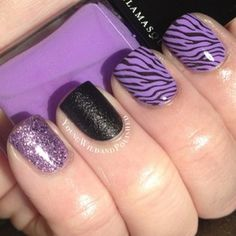 (Nicole Young Wild and Polished) Sexy Nails, Glam Nails, Love Nails, Pretty Nails, Black And Purple Nails, Purple Zebra, Cheetah Nail Art, Square Gel Nails, Purple Manicure