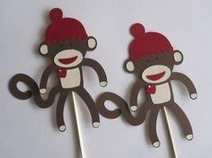 3 Sock Monkey Centerpieces by DKDeleKtables on Etsy Monkey Centerpiece, 1st Birthday Parties, Birthday Ideas, Sock Monkey Party, Boy Shower, First Birthdays, Shower Ideas, New Baby Products, Centerpieces