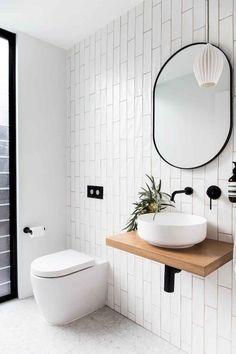29 Ideas bath room interior modern powder rooms for 2019 Modern Powder Rooms, Modern Small Bathrooms, Modern Bathroom Design, Bathroom Interior Design, Amazing Bathrooms, Modern Room, Bathroom Small, Interior Modern, White Bathroom