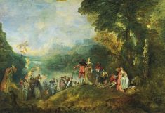 "Antoine Watteau, ""Pilgrimage to Cythera"" aka ""The Embarkation for Cythera,"" 1717 #Rococo"