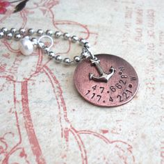 Sail Away With Me . GPS Latitude Longitude Necklace . Hand Stamped Charm with Anchor . Customize Nautical Coordinates . Copper, Silver, Gold via Etsy