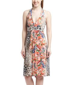 This Red Floral Leopard Halter Dress is perfect! #zulilyfinds