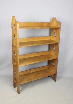 Liberty & Co Sedley 4 Tier Oak Bookcase Trefoils - Antiques Atlas
