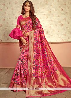 Buy unique collection of designer saree online in india, usa, uk, canada. Buy this blissful patola silk designer traditional saree for bridal and wedding. Saree Blouse Neck Designs, Fancy Blouse Designs, Choli Designs, Saree Blouse Patterns, Bridal Blouse Designs, Lehenga Designs, Stylish Blouse Design, Designer Blouse Patterns, Traditional Sarees
