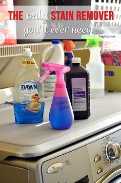 The ONLY stain remover you will ever need! This miracle cleaner has worked on every stain from set in grease, to yellow arm pit stains. part Dawn, 2 parts hydrogen peroxide; scrub in for pit stains. Homemade Cleaning Products, Cleaning Recipes, Natural Cleaning Products, Cleaning Hacks, Cleaning Supplies, Household Products, Household Tips, Diy Cleaners, Cleaners Homemade