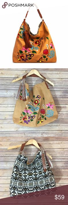SPRING SALETaupe Reversible Embroidered Hobo Reversible Emboidery Fashion Hobo Bag  Vegan Leather Reversible Bag Available in Black  Hidden Magnetic Top Closure 17(W) X 6(D) X 16(H) Fabfindz Bags Hobos
