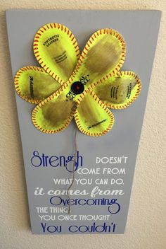 Strength Doesn't Come from What you can do, Baseball/Softball Sign Decor, Inspirational Quote, Baseball Softball Flower Yellow Softball - Products - Exercícios Aeróbicos Senior Softball, Softball Quotes, Softball Pictures, Girls Softball, Fastpitch Softball, Softball Stuff, Softball Cheers, Softball Things, Softball Pitching
