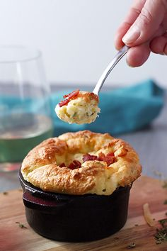 Potato Soufflé with Roasted Garlic, Gruyere & Herbs ~ Cooks With Cocktails Herb Recipes, Cooking Recipes, Yummy Recipes, Romantic Meals, Romantic Recipes, Yummy Eats, Yummy Food, Bacon And Butter