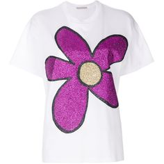 Christopher Kane glitter flower T-shirt (3,785 EGP) ❤ liked on Polyvore featuring tops, t-shirts, white, glitter top, christopher kane, white t shirt, glitter tees and christopher kane t shirt