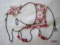 ♒ Enchanting Embroidery ♒ embroidered  Elephant