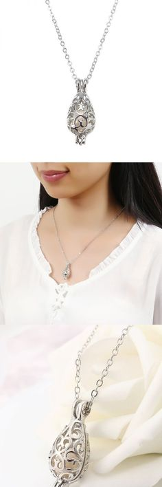 Retro pearl necklace fashion hollow openable water drop shape pendant chain women jewelry gift gold necklaces pendants singapore #jewelry #key #pendants #jewelry #pendants #suppliers #necklace #stamped #pendants #stone #necklaces #pendants