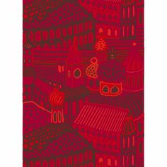 Marimekko Kumiseva Red Fabric Repeat Printed in Finland with Katsuji Wakisaka's stylish city scene, this heavyweight cotton fabric by Marimekko adds urban historic style to any space. Red Fabric, Cotton Fabric, Marimekko Fabric, City Scene, Make Your Mark, Modern Fabric, Out Of Style, Finland, Kids Rugs