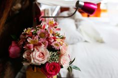 Bridal bouquet with lots of pink
