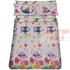 "Disney Lilo & Stitch 54"" Fitted Sheet 2 Pillow Cases 70"" Duvet Cover Bedding"