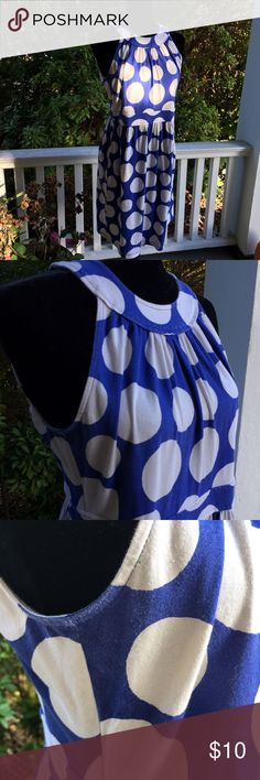 Ann Taylor LOFT polka dot dress Very cute no stains/tears there is wear as seen in the pic.. 93 cotton 5 spandex 19.5 bust 38 length 16 waist (no stretch in waist) but stretch other than waistband LOFT Dresses