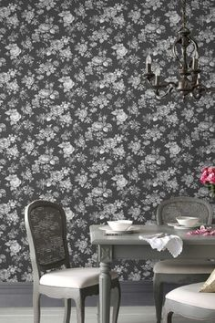 Muse by Graham and Brown is a digital image wallpaper with a matt finish, of a tapestry like all over floral design #darkfloralwallpaper