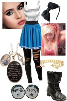 """Punk Alice in wonderland"" by alexluvsbvb ❤ liked on Polyvore"
