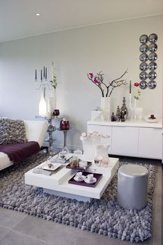 Love purple, grey and white for a living room!