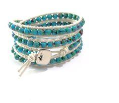 """Armband  """"Chan Luu"""" Stil  Azurblau von Tessie's  Schmuck & Deko auf DaWanda.com"""